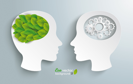 Human heads with green leaves and gears on the gray backdrop. Stok Fotoğraf - 87890184