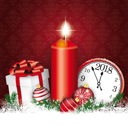 Candle with gift, baubles and clock on the red background.