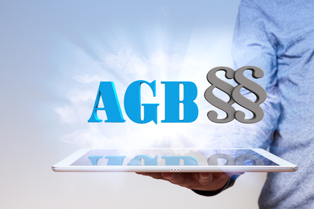 webmaster: German text AGB, translate General Terms and Conditions. Stock Photo