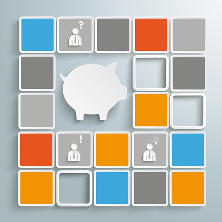 Colored tiles with piggy bank. Illustration