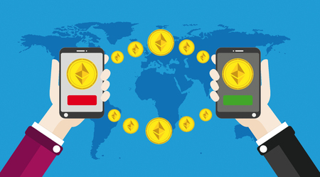 disposition: Flat design with human hands, smart phones and golden Ethereum coins.