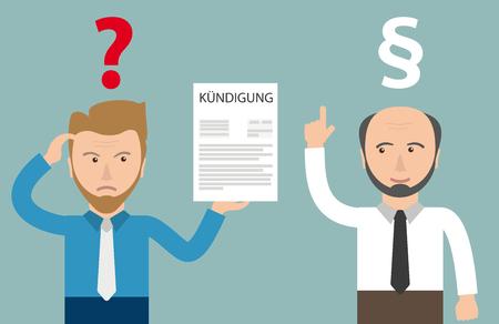 dismissal: German text Kündigung, translate Dismissal. Illustration
