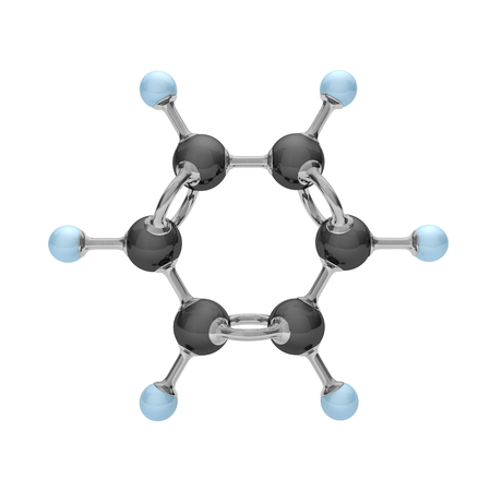 Molecule of benzene on the white. 3d illustration. Фото со стока