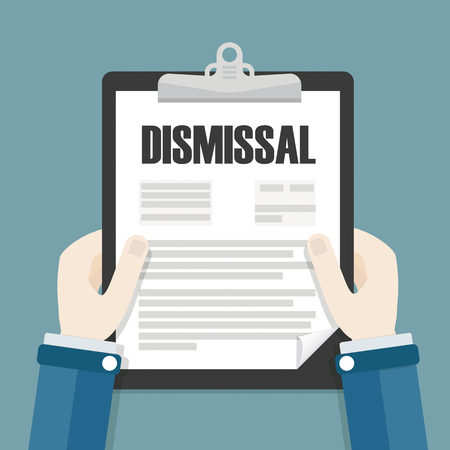 Hands with clipboard and letter Dismissal. Eps 10 vector file.