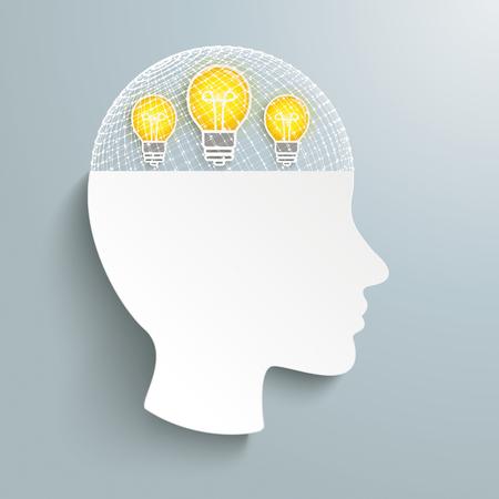 회색 배경에 눈금 및 아이디어 전구와 인간의 머리. Eps 10 벡터 파일입니다.