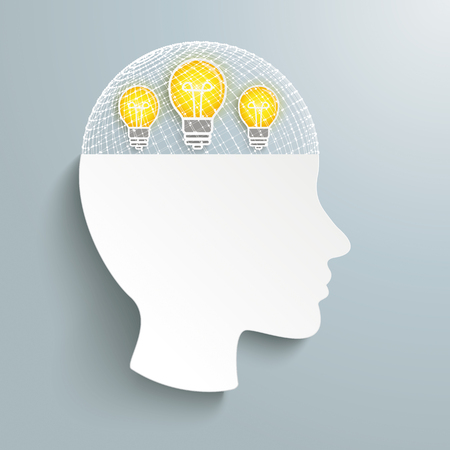 Human head with grid and idea bulbs on the gray background. Eps 10 vector file. Illustration