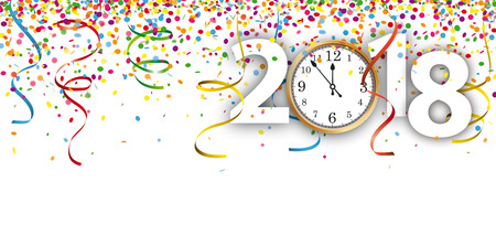 Colored confetti with ribbons, clock and date 2018 on the white. Eps 10 vector file.