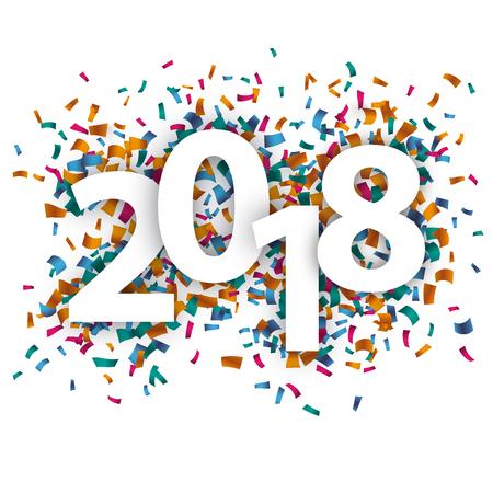 2018 mit farbigen Konfetti auf dem weißen Hintergrund. ENV 10 Vektordatei.