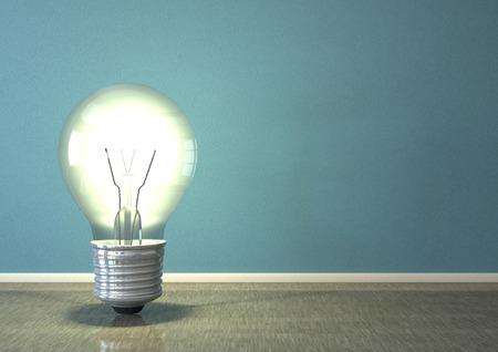 Big idea bulb in the room. 3d illustration.