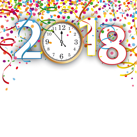 Gekleurde confetti met linten ontwerp voor het nieuwe jaar 2018.