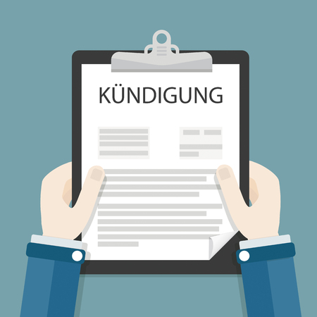 German text Kuendigung. Illustration