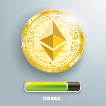 Golden ethereum with progress bar on the gray background. Eps 10 vector file.