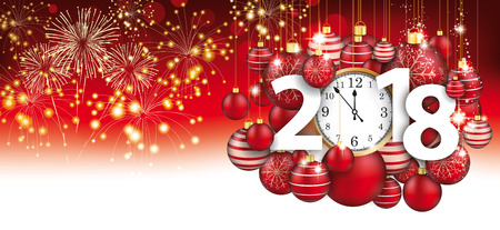Red christmas card with hanging red baubles, fireworks, clock and date 2018. Eps 10 vector file.