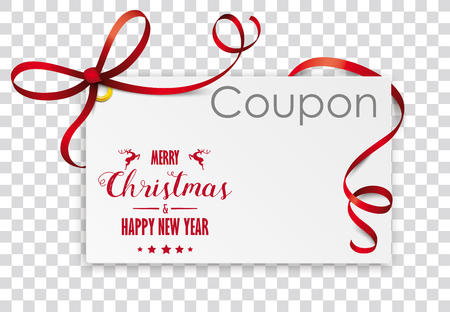Christmas coupon card on the checked background. Eps 10 vector file. Illustration