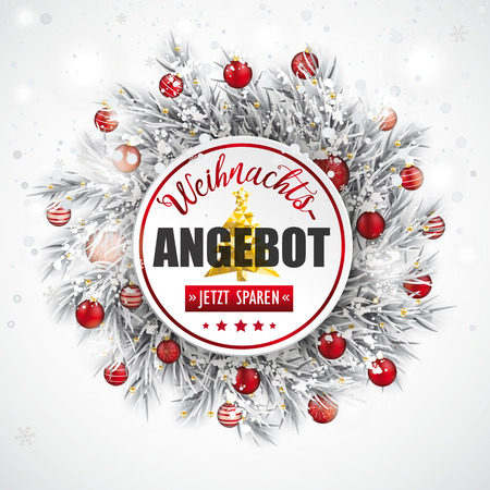 German text Weihnachtsangebot, jetzt sparen, translate Christmas Offer vector illustration