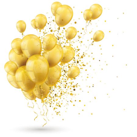 황금 풍선 및 흰색에 황금 입자. Eps 10 벡터 파일입니다.