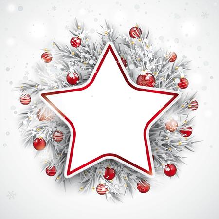 Étoile en papier rouge avec des brindilles congelées, des boules rouges et des chutes de neige dans le dos. Fichier vectoriel EPS 10