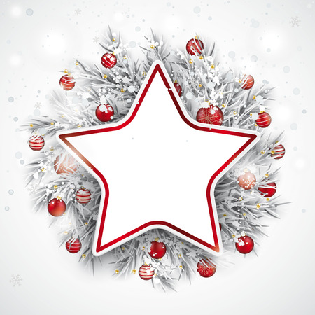 Red paper star with frozen twigs, red baubles and snowfall in the back.  Eps 10 vector file.