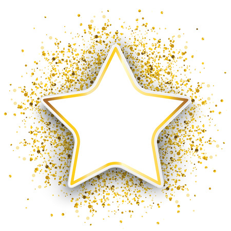 Star with golden particles confetti on the white background. Eps 10 vector file.