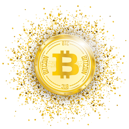 Golden bitcoin coin with golden particles confetti on the white background. Eps 10 vector file.