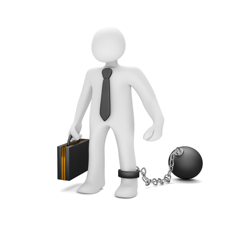 White manikin with black tie, chain and iron ball. 3d illustration. Stock Photo