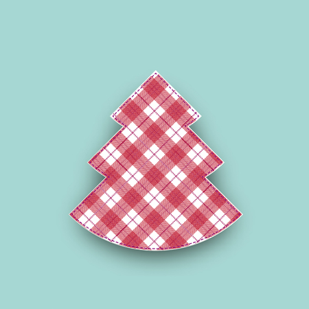 Checked cloth christmas tree on the turquoise background. Eps 10 vector file.