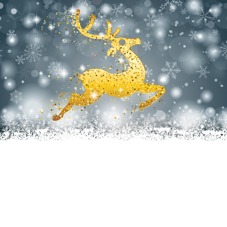 Christmas card with snowflakes and golden reindeer on the gray background. Eps 10 vector file.