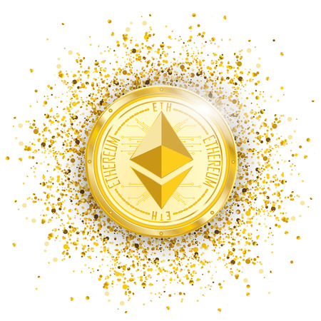 Golden ethereum coin with golden particles confetti on the white background. Eps 10 vector file. Illustration