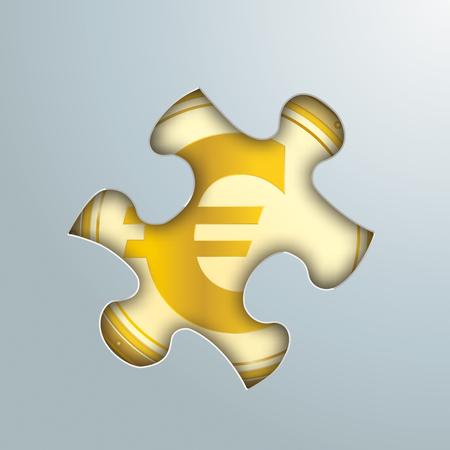 Puzzelgat met gouden euromunt