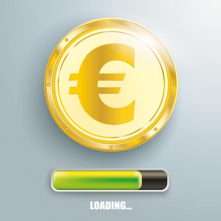 Golden Euro coin with progress bar