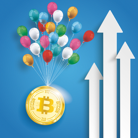 traders: White arrows with balloons and golden bitcoin on the blue background. Eps 10 vector file.