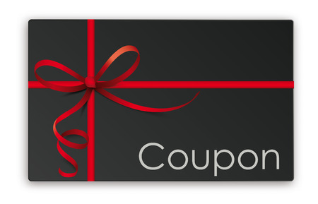 Black coupon card with red ribbon. Eps 10 vector file.
