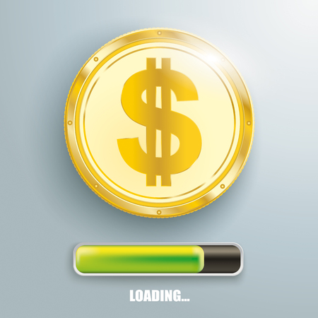 Golden dollar coin with progress bar on the gray background. Eps 10 vector file. Illustration