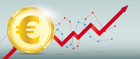 Growing chart with Euro coin on the green background. Eps 10 vector file.