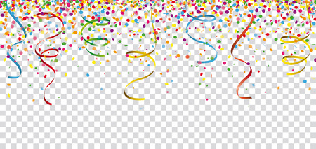 Colored confetti with ribbons on the checked background. Eps 10 vector file.