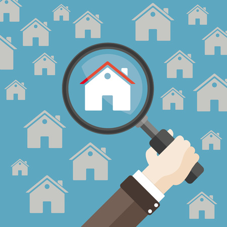 Human hand with loupe and a houses. Eps 10 vector file. Vettoriali