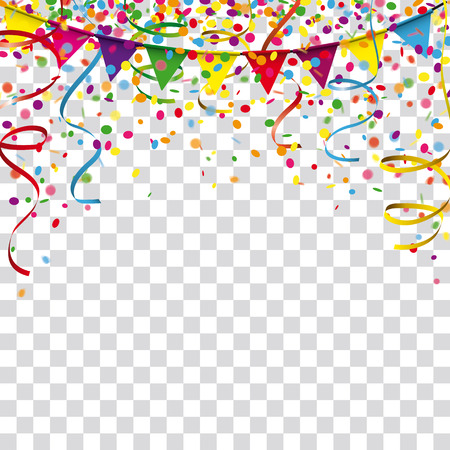 Colored confetti with ribbons and festoon on the checked background. Eps 10 vector file.