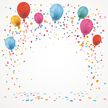 Colored baloons and confetti cover. Eps 10 vector file.
