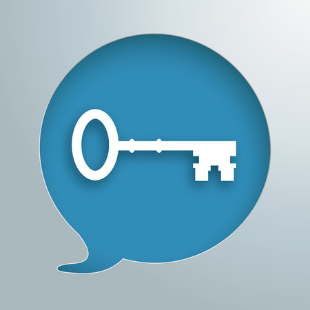 Speech bubble hole with white key on the blue background. Eps 10 vector file.