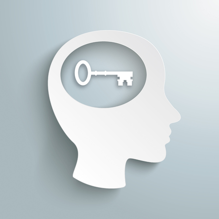 Infographic design with human head and key in the brain on the gray background. Eps 10 vector file.