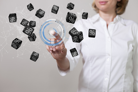 Woman with black percent cubes and hud display.
