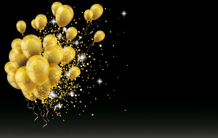 Golden balloons and golden particles on the black background. vector file. Stock Illustratie