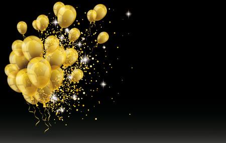 Złote balony i złote drobinki na czarnym tle. plik wektorowy. Ilustracje wektorowe