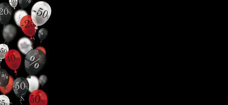 Globos de descuento con porcentajes en el fondo negro. Archivo de vectores Eps 10.