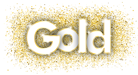 Text Gold with the golden particles on the white background.