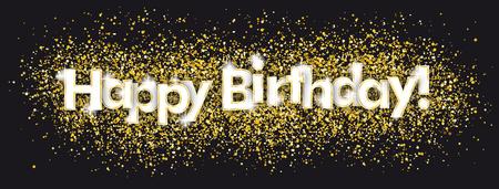 Text alles Gute zum Geburtstag mit goldenen Konfetti