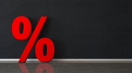 Red percent on the black wall. 3d illustration.  Фото со стока