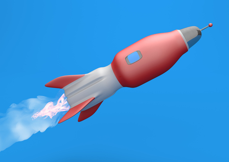 The red rocket on the blue sky. 3d illustration.