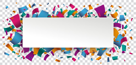 White paper banner with colored confetti confetti on the checked background. Eps 10 vector file. Illustration