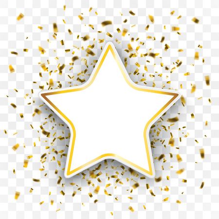 Golden confetti with paper star on the checked background. Eps 10 vector file.